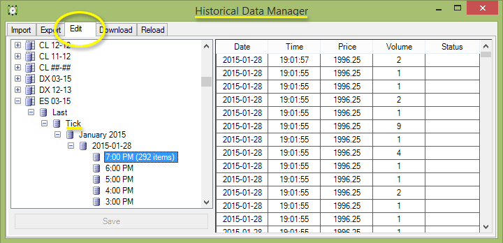 Historical Data Manager -> Edit