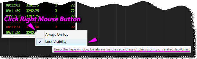 RT NT8 - Lock Tape window Visibility command