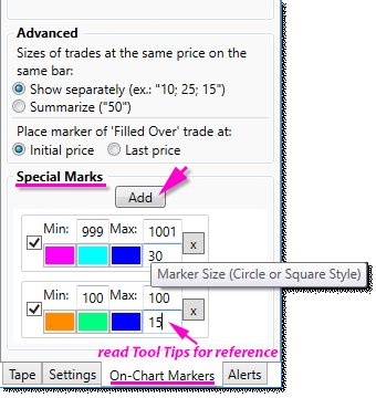 Special Markers editor in 'On-Chart Markers' tab